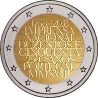 Pièce 2 Euros Commémorative PORTUGAL 2018 - 250 Ans Imprimerie Portugaise - UNC - Portugal