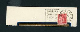 """FRANCE -  FLAMME DAGUIN """" BUSSANS CURE DES ANEMIES TOURISME """"  DE BUSSANS 1936 - Oblitérations Mécaniques (flammes)"""