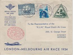 Pays Bas Lettre De 1934 Pour Sydney London-Melbourne Air Race - 1891-1948 (Wilhelmine)