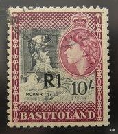 BASUTOLAND 1961. Mohair. 1r. On 10s - Black And Purple. SG 68B. Used. - Basutoland (1933-1966)