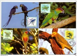 Brasil Brazil 2001 WWF W.W.F. Set X4 Maximum Cards Fauna Bird Birds - Maximumkaarten