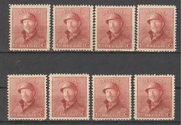 1919 OBP / COB  8 X Nr 168 * / ** 10c - ALBERT I Met Helm / Roi Casqué - Belgique
