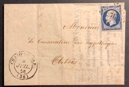 1856 Napoléon III N°14e Sur Lettre Pré-imprimée Du Conservatoire Des Hypothéques Obl PC 713 Avec Dateur Type 14 - 1849-1850 Ceres