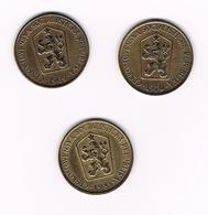 TSJECHOSLOWAKIJE 3 X 1 KORUNA  1969/70/81 - Tchécoslovaquie