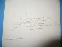 LETTRE AUTOGRAPHE SIGNEE DE HENRI BELLOT DES MINIERES 1862 POETE CHANOINE EVEQUE POITIERS GIRONDE - Autógrafos