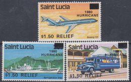 Sainte-Lucie N° 520 / 22 XX Au Profit Des Sinistrés D'un Ouragan La Série Des 3 Valeurs Sans Charnière, TB - St.Lucie (1979-...)