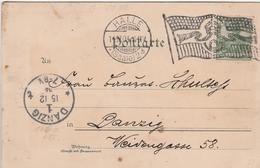 Allemagne Flamme Drapeau Halle Sur Carte Postale 1904 - Deutschland