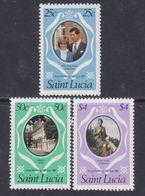 Sainte-Lucie N° 530 / 32 XX Mariage Royal Du Prince Charles Et De Lady Diana La Série Des 3 Valeurs Sans Charnière, TB - St.Lucie (1979-...)