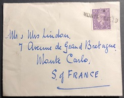 Angleterre N°314 3 Penny Violet Pour Monaco Oblitéré En Arrivée De La Griffe Linéaire De Monte Carlo RR - Briefe U. Dokumente