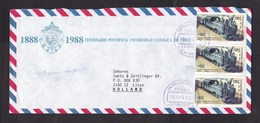 Chile: Airmail Cover To Netherlands, 1994, 3 Stamps, Steam Locomotive, Train, Transport, Rare Real Use (traces Of Use) - Chili