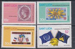 Sainte-Lucie N° 551 / 54 XX Anniversaire De L'addhésion à L' U. P. U., La Série Des 4 Valeurs Sans Charnière, TB - St.Lucie (1979-...)
