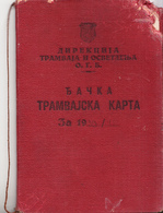 ANNUALY TRAMWAY TICKET  BELGRADE SERBIA 1940 - Season Ticket