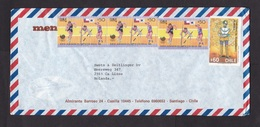 Chile: Airmail Cover To Netherlands, 4 Stamps, Olympics, Athletics, Columbus, Map (no Cancel, Minor Damage) - Chili
