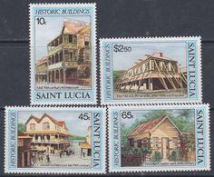 Sainte-Lucie N° 630 / 33 XX Bâtiments Historiques, La Série Des 4 Vals Ss Charnière, TB - St.Lucie (1979-...)