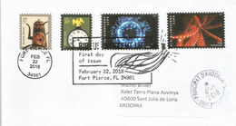 USA. Deep Ocean Bioluminescent Life Stamps 2018 ,FDC, On Cover Sent To Andorra, With Arrival Postmark - Maritiem Leven