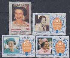 Sainte-Lucie N° 810 / 13  XX 60ème Anniversaire De S. M. Elisabeth II ( I ), La Série Des 4 Valeurs Sans Charnière, TB - St.Lucie (1979-...)