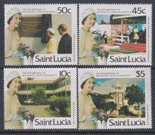 Sainte-Lucie N° 814 / 17  XX 60ème Anniversaire De S. M. Elisabeth II ( II ), La Série Des 4 Valeurs Sans Charnière, TB - St.Lucie (1979-...)