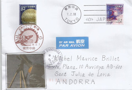 JAPAN. Space Science,Astronomy,2018, On Cover Sent To Andorra, With Arrival Postmark - Sterrenkunde