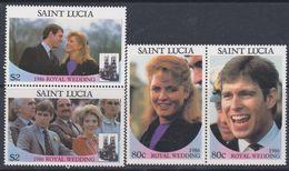 Sainte-Lucie N° 821 / 24  XX Mariage Du Prince Andrew Et De Miss Sarah Ferguson, La Série Des 4 Vals Sans Charnière, TB - St.Lucie (1979-...)