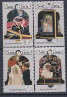 Sainte-Lucie N° 828 / 31  XX Mariage Du Prince Andrew Et De Miss Sarah Ferguson ( II ), La Série Des 4 Vals Ss Ch., TB - St.Lucie (1979-...)