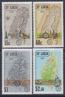 Sainte-Lucie N° 870 / 73  XX  Carte De L'ile La Série  Des 4 Valeurs Sans Charnière, TB - St.Lucie (1979-...)