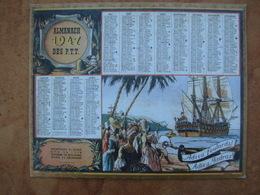 CALENDRIER PTT 1947  Avec Au Dos, LE PREMIER Calendrier Postal  1854 Impr. Oberthur - Calendars