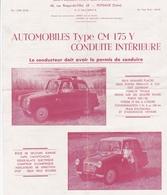 """PUTEAUX  -  Fiche Publicitaire Des Etablissement """"Charles MOCHET """" - Voiture """"Type CM 175 Y - 68 Rue Roque-de-Fillol - Puteaux"""