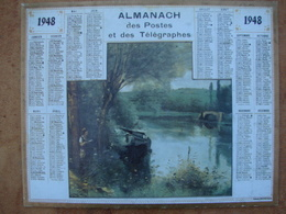 CALENDRIER PTT 1948  Avec Au Dos, LE PREMIER Calendrier Postal  1854 Impr. Oberthur - Calendars