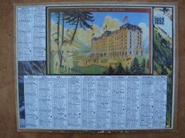 CALENDRIER PTT 1952 CHAMONIX MONT BLANC  Avec Au Dos, LE PREMIER Calendrier Postal  1854 Impr. Oberthur - Calendars