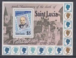 Sainte-Lucie BF N° 17 XX  100ème Anniversaire De La Mort De Rowland Hill, Le Bloc Sans Charnière, TB - St.Lucie (1979-...)