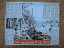 CALENDRIER PTT 1951 PARIS La Tour Eiffel  Avec Au Dos, LE PREMIER Calendrier Postal  1854 Impr. Oberthur - Calendriers