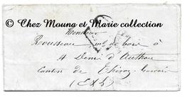 ROUSSEAU MARCHAND DE BOIS ST SAINT DENIS D AUTHOU 1872 - EURE ET LOIRE - MARQUE POSTALE LETTRE MISSIVE - Marcophilie (Lettres)