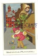 Bonne Année. Enfants Et Petit Chien. Pluie De Trèfles Argentée 1935 - Año Nuevo