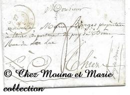 THIERS MARIE BARGES RUE DU LAC 1845 - PUY DE DOME - MARQUE POSTALE LETTRE MISSIVE - Marcophilie (Lettres)