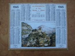 Almanach Des PTT Le Chateau De Lourdes 1945 - Calendars