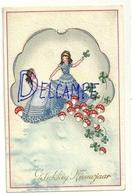 Gelukkig Nieuwjaar. Petites Filles En Robes De Bal, Ribambelle De Champignons Et De Trèfles. 1945. Coloprint ELITE 1114 - Año Nuevo