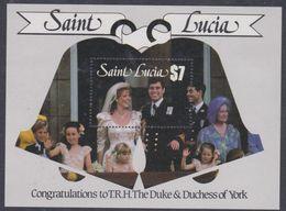 Sainte-Lucie BF N° 49 XX Mariage Du Prince Andrew Et De Miss Sarah Ferguson, Le Bloc Sans Charnière, TB - St.Lucie (1979-...)