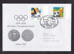 Germany: Cover 1996, 2 Stamps, Special Cancel, Olympics, World Cup Soccer, Football, Ice Skating, Sports (traces Of Use) - Covers & Documents