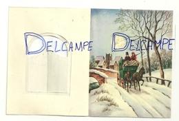 Mignonnette Double. Bonne Année. Portail De Manoir, Diligence. Coloprint 11384/3. 8,5/11 Cm - Neujahr