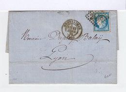 Montélimar Type Céres 25 C Bleu Oblitération Losange Gros Chiffres CAD Montélimar 1874 Sur Lettre. (501) - Marcophilie (Lettres)