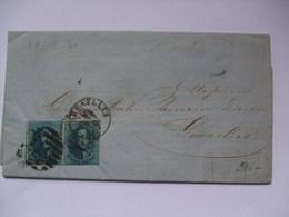 BELGIUM 1861 Entire - Bruxelles To Gosselies With Banque De Belgique Bruxelles Cachet - 1858-1862 Médaillons (9/12)
