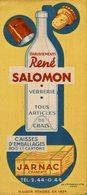 BUVARD VERRERIE RENE SALOMON A JARNAC - Buvards, Protège-cahiers Illustrés