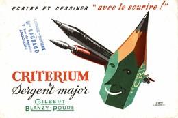 BUVARD CRITERIUM SERGENT MAJOR GILBERT BLANZY POURE SIGNEE JACQUELIN - Stationeries (flat Articles)