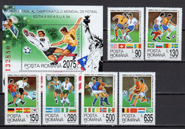 Romania 1994 Football Soccer World Cup, Space Set Of 6 + S/s MNH - World Cup