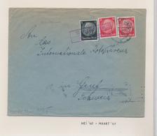 ZZ538 - Cover Stamps Hindenburg - Linear Cancel MARTHEGAUHM 1941 To Genf Schweiz - Censor Label FRANKFURT - Germany