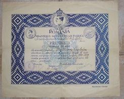 "Roumanie Romania Rumänien 1940 """" Diploma GOLD MEDAL "" Carol King - Diploma & School Reports"