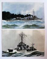 2 CPA Torpilleurs Bombarde Siroco Navire De Guerre Illustrateur Léon Haffner Peintre Marine Ligue Maritime Et Coloniale - Guerra