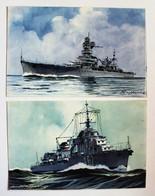 2 CPA Contre Torpilleur Magador Croiseur Algérie Illustrateur Léon Haffner Peintre Marine Ligue Maritime Et Coloniale - Guerra