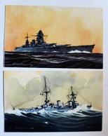 2 CPA Cuirassé Dunkerque Croiseur Duquesne Illustrateur Léon Haffner Peintre Marine Ligue Maritime Et Coloniale - Guerra