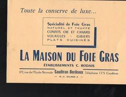Caudéran (33 Gironde) Carte- MAISON DU FOIE GRAS  (et. Rodais)  (PPP12484) - Advertising